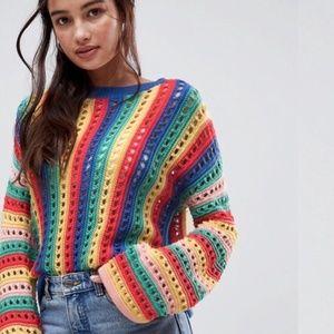 ASOS Crochet Rainbow Sweater Flare Sleeves US 8